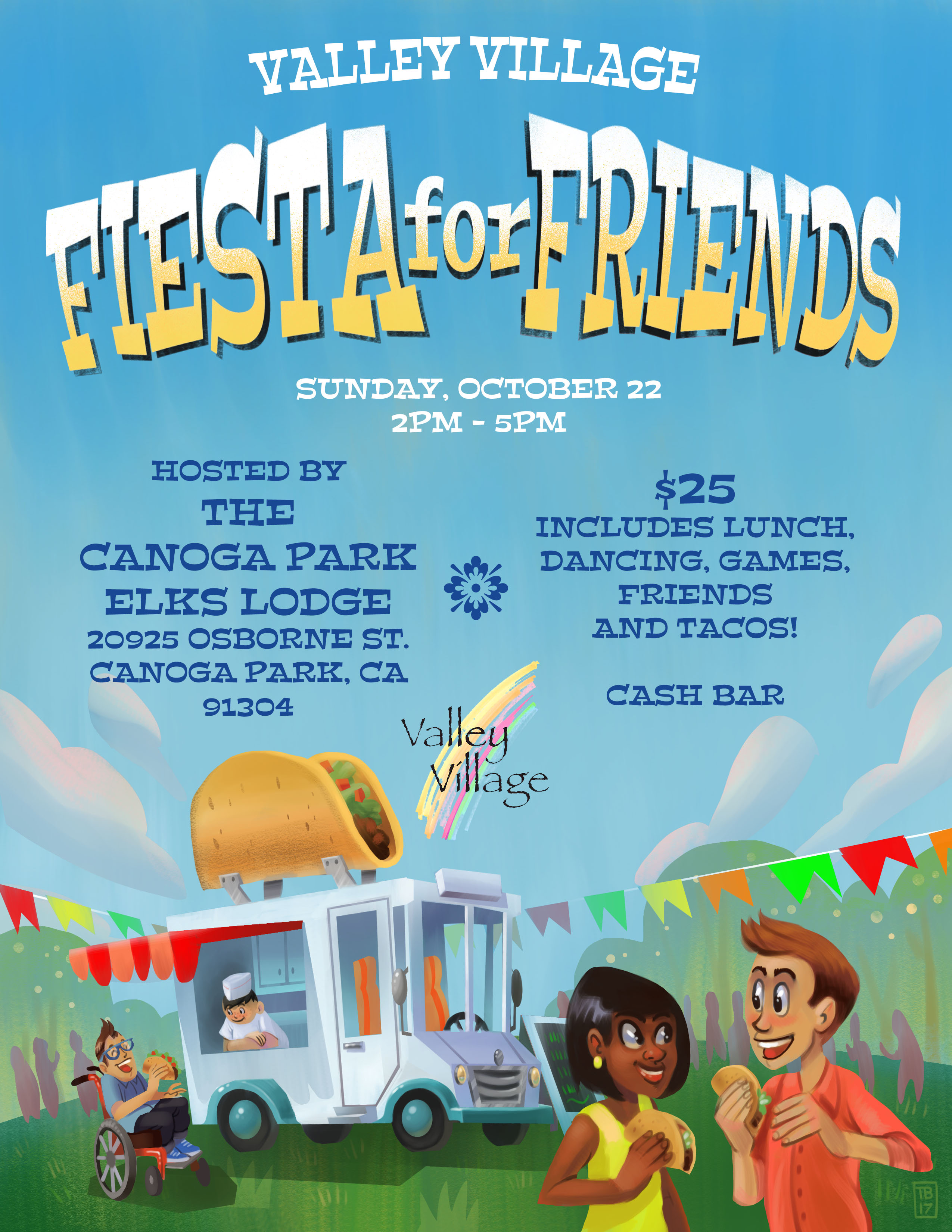 Fiesta for Friends, Sunday, October 22, 2017, hosted by the Canoga Park Elks Lodge, fundraiser for Valley Village. $25 includes tacos, horchata, lawn games. RSVP to (818) 587-9450
